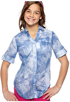 Speechless Tie Dye Chambray Tie Front Top Girls 7-16