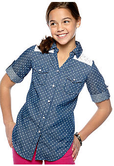 Speechless Dot Chambray Tie Front Top Girls 7-16
