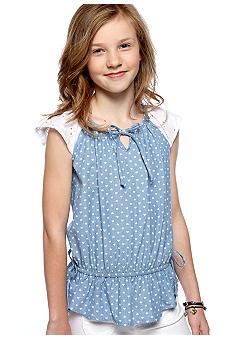 Speechless Chambray Peplum Shirt Girls 7-16