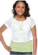 Speechless wLace Popover Necklace Top Girls Plus