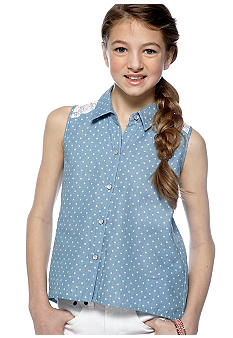 Speechless Chambray Polka Dot Shirt Girls 7-16