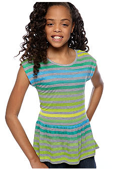 Speechless Neon Stripe Peplum Girls 7-16