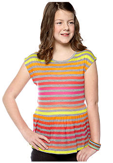 Speechless Neon Striped Peplum Top Girls Plus