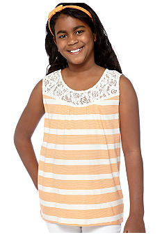 Speechless Stripe Lace Tank Girls Plus