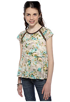 Speechless Camo Floral Peplum Top Girls 7-16