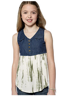 Speechless Denim Camo Baby Doll Top Girls 7-16