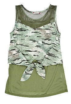 Speechless Tie Front Camouflage Top Girls Plus