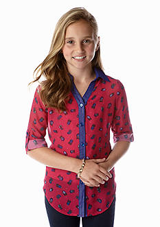 Speechless Owl Tie Front Chiffon Top Girls 7-16