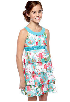 Speechless Tiered Floral U-Neck Dress Girls 7-16