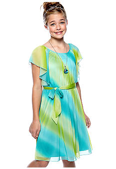 Speechless Ombre Angel Sleeve Dress Girls 7-16