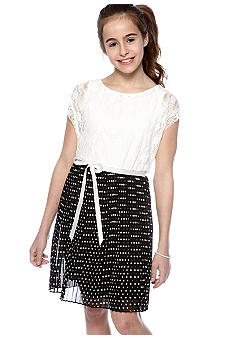 Speechless Lace Polka Dot Dress Girls 7-16