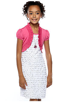 Speechless Sequin Eyelash Shrug Dress Girls 7-16