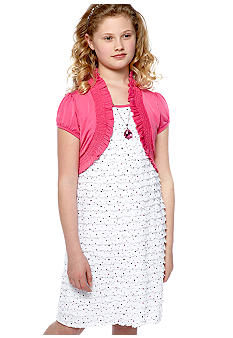 Speechless Dot Eyelash Shrug Dress Girls Plus