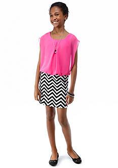 Speechless Blouson Chevron Dress Girls 7-16
