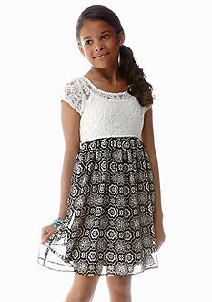 Speechless Lace to Floral Print Dress Girls 7-16