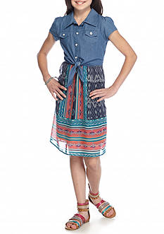 Speechless 2-Fer Denim to Printed Chiffon Dress Girls 7-16
