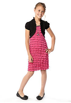 Speechless Shimmer Eyelash Shrug Dress Girls 7-16
