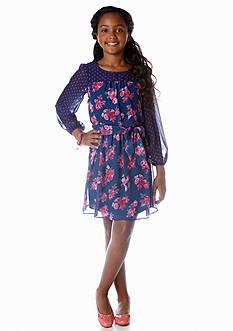Speechless Chiffon Floral Dot Dress Girls 7-16