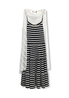 Speechless 2-Piece Striped Dress and Lace Cozy Set Girls 7-16