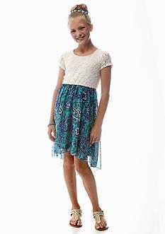 Speechless Lace to Paisley Print Dress Girls 7-16
