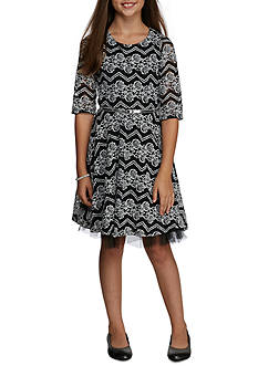 Speechless Belted Chevron Lace Party Dress Girls 7-16