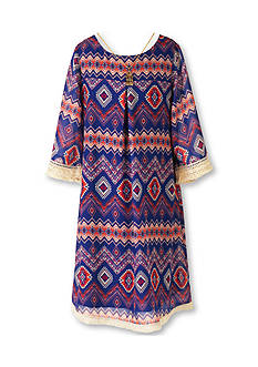 Speechless Crochet Printed Shift Dress Girls 7-16