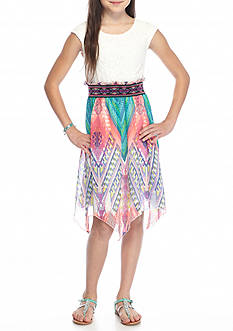 Speechless Lace to Printed Chiffon Dress Girls 7-16