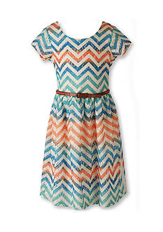 Speechless Chevron Lace Fit and Flare Belted Dress Girls 7-16