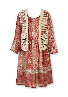 Speechless Printed Chiffon Babydoll Dress and Cozy Girls 7-16