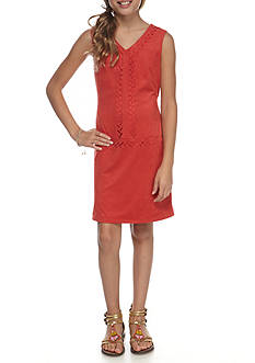Speechless Knit Faux Suede Laser Cut Dress Girls 7-16