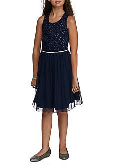 Speechless Glitter Lace and Mesh A-Line Jeweled Dress Girls 7-16