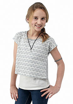 Speechless Crochet Detailed Popover Top Girls 7-16