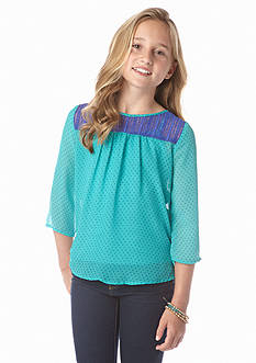 Speechless Mini Dot Chiffon Top Girls 7-16