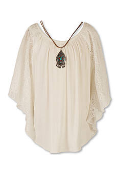 Speechless Lace Peasant Top with Necklace Girls 7-16