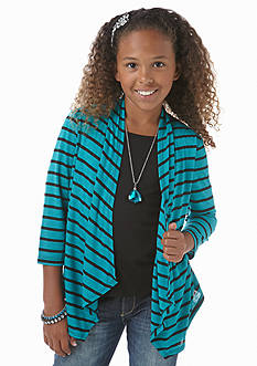 Speechless 2-Fer Stripe Cardigan Top Girls 7-16