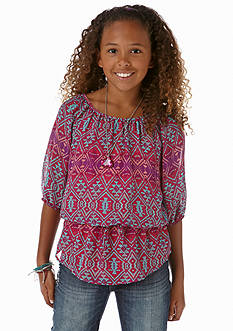 Speechless Tribal Chiffon Peplum Top Girls 7-16