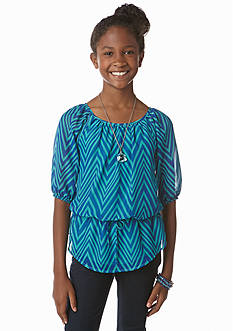 Speechless Chevron Peplum Chiffon Top Girls 7-16