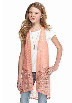 Speechless Short Sleeve Top with Lace Duster Girls 7-16