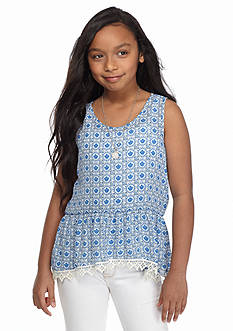 Speechless Medallion Print Necklace Tank Girls 7-16