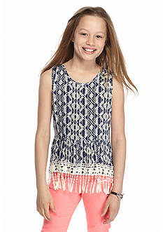 Speechless Drippy Fringe Printed Tank Girls 7-16