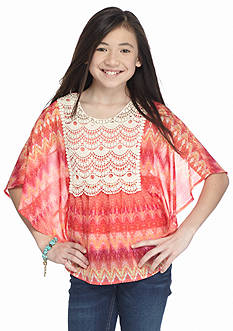 Speechless Crochet Front Printed Circle Top Girls 7-16