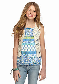 Speechless 2-Piece Crochet Vest and Printed Tank Top Girls 7-16