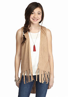 Speechless 2-Piece Suede Fringe Vest Tank Girls 7-16