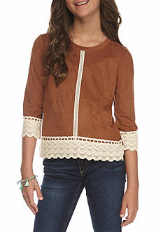 Speechless Faux Suede Knit Lace Top Girls 7-16