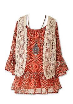 Speechless 2-Piece Printed Peasant Top and Lace Vest Girls 7-16