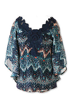 Speechless Printed Chiffon Crochet Top Girls 7-16