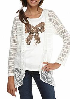 Speechless 2-Piece Crochet Lace Cardigan and Bow Tank Set Girls 7-16