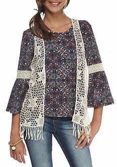 Speechless 2-Piece Set Bell Sleeve Top and Crochet Vest Girls 7-16