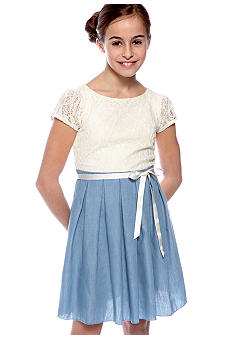 Speechless Lace Chambray Dress Girls 7-16