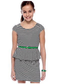 Striped Peplum Dress Girls 7-16